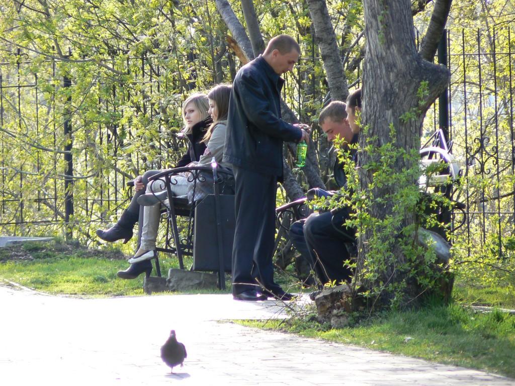 Tomsk Drinking beer in park