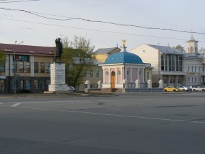 Tomsk Lenin monument and Iverskaya Chapel