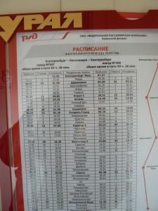 Trans-Siberian Train schedule