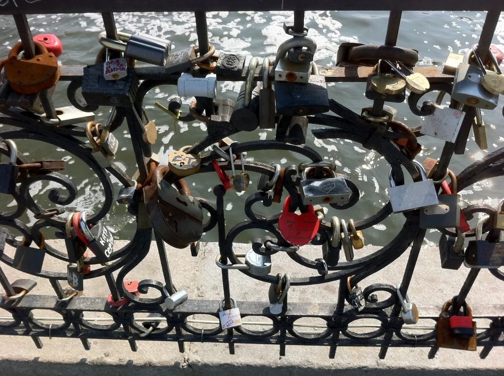 Love Locks on the bridge crossing the inlet