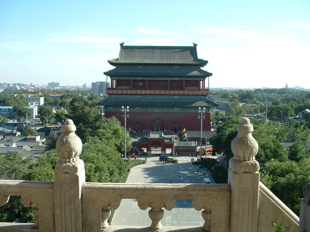 Beijing Drum Tower as seen from Bell Tower
