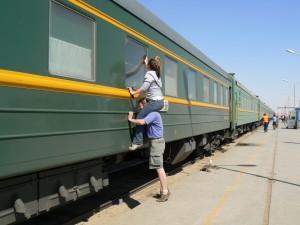 Trans-Siberian train windows clean